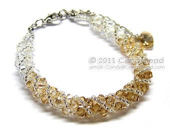 Swarovski bracelet, Light brown shade twisty Swarovski Crystal Bracelet by CandyBead