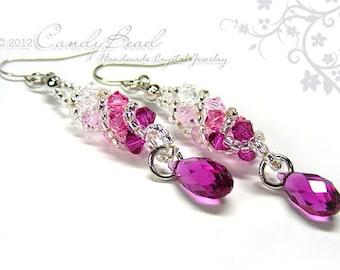 Swarovski earrings;crystal earrings;Roseberry Twisty Swarovski Crystal by CandyBead