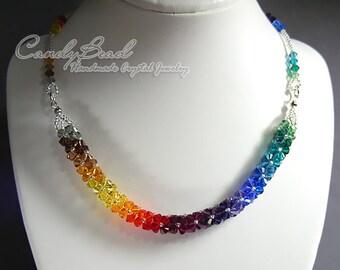 Swarovski Necklace, Luxurious Dark Rainbow Swarovski Crystal Necklace by CandyBead