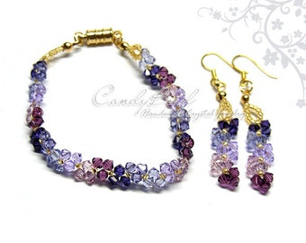 Purple and Lavender Swarovski Crystal Bracelet by CandyBead (J012-01)