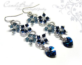 Swarovski earrings;crystal earrings;Navy Blue Flower Dancing Swarovski Crystal Earrings (E011-01)