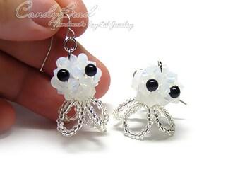 Swarovski earrings - Little White Jellyfish Crystal Earrings (E012-06)