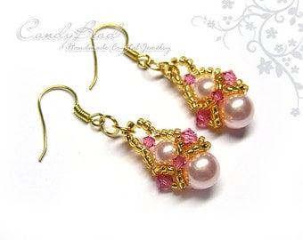 Pink Pearl Swarovski Crystal Earrings - with gold beads (E005-01)