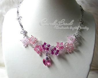 Swarovski Necklace, Sweet Pink Flower Dancing Swarovski Crystal Silver Necklace (N007-03)