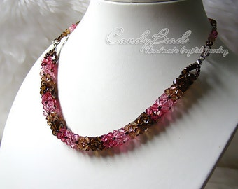 Swarovski Necklace, Luxurious Coco Raspberry Swarovski Crystal Necklace by CandyBead (N008-14)