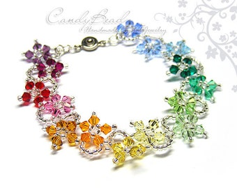 Rainbow bracelet; crystal bracelet; Swarovski bracelet; Glass bracelet;Crystal Bracelet with Rainbow colors