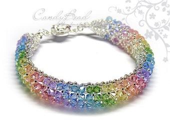 Rainbow bracelet; crystal bracelet; Swarovski bracelet; Glass bracelet;Swarovski Crystal Bracelet, Colorful Swarovski Crystals