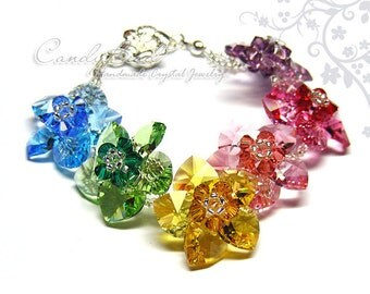 Swarovski bracelet, Sweet Rainbow Flowers Swarovski Crystal Bracelet by CandyBead - Best seller