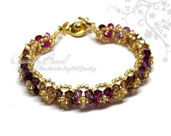 Gorgeous Gold-Dark Colors Swarovski Crystal Bracelet by CandyBead