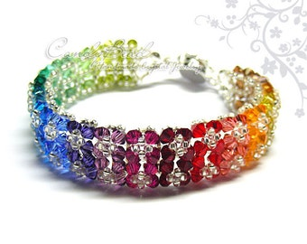 Rainbow bracelet; crystal bracelet; Swarovski bracelet; Glass bracelet;Dark Rainbow Crystal Bracelets by CandyBead