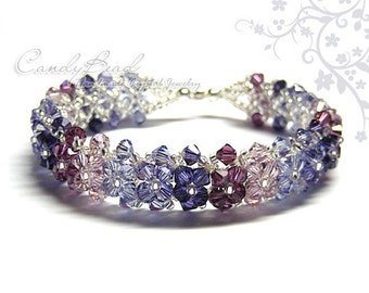 Sweet Purple and Lavender Swarovski Crystal Bracelet by CandyBead
