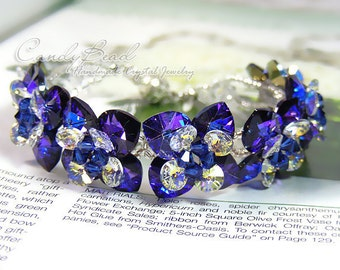 Swarovski Crystal Bracelet, Heliotrope Flowers Swarovski Crystal Bracelet by CandyBead