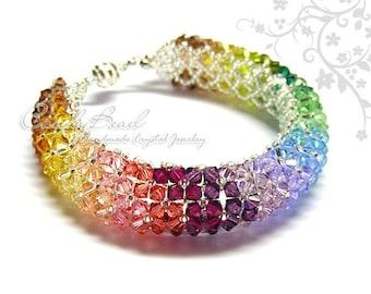 Rainbow bracelet; crystal bracelet; Swarovski bracelet; Glass bracelet;Elegant Colorful Crystal Bracelet - Rainbow Colors
