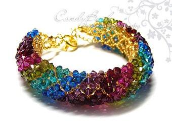 Swarovski bracelet, Elegant Multi-color Swarovski Crystal Bracelet with gold toggle clasp by CandyBead - Best seller