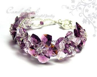 Amethyst Flowers Swarovski Crystal Bracelet by CandyBead