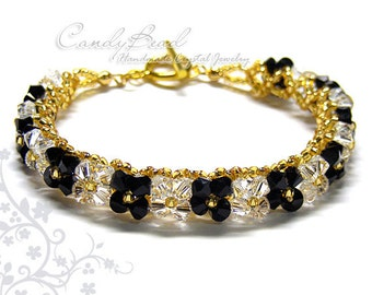 Black and White Swarovski Crystal Bracelet by CandyBead