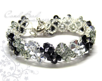 Swarovski Crystal Bracelet, Silver Black Crystal Bracelet by CandyBead