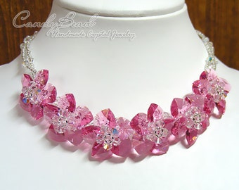 Swarovski necklace, Rosy Rose Flowers Swarovski Crystal Necklace with Adjustable Clasp by CandyBead (N015-01)