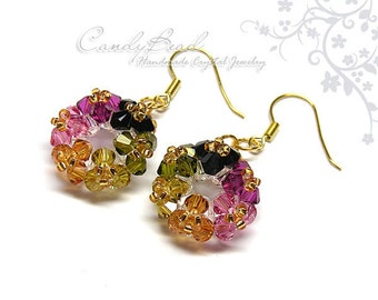 Swarovski Earrings, Tourmaline Flower bunch Swarovski Crystal Earrings by CandyBead (E021-04)
