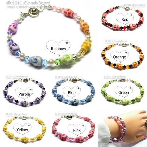 Swarovski bracelet, Sweet Skull Halloween Bracelet by CandyBead - Sold individually - Select color inside