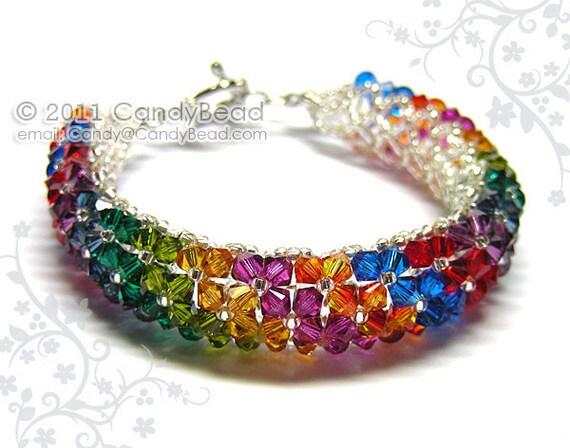 Swarovski bracelet, Hot Rainbow Swarovski Crystal Bracelet by CandyBead