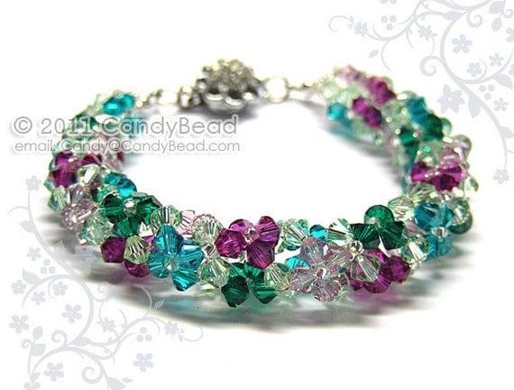 SALE - Swarovski bracelet, Luxurious Floral Swarovski Crystal Bracelet by CandyBead