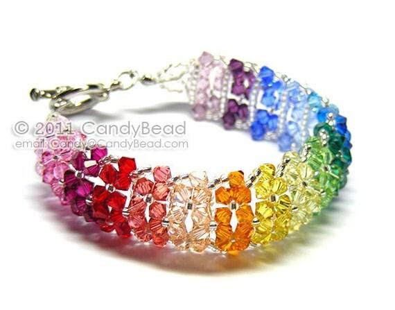 Swarovski Bracelet, Sweet Rainbow Crystal Cuff Bracelet by CandyBead