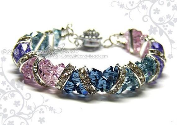 Swarovski Bracelet, Sweet Purple to Blue Crystal Cuff Bracelet by CandyBead
