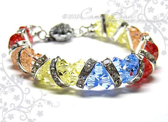 Swarovski Bracelet, Sweet Multicolor Crystal Cuff Bracelet by CandyBead