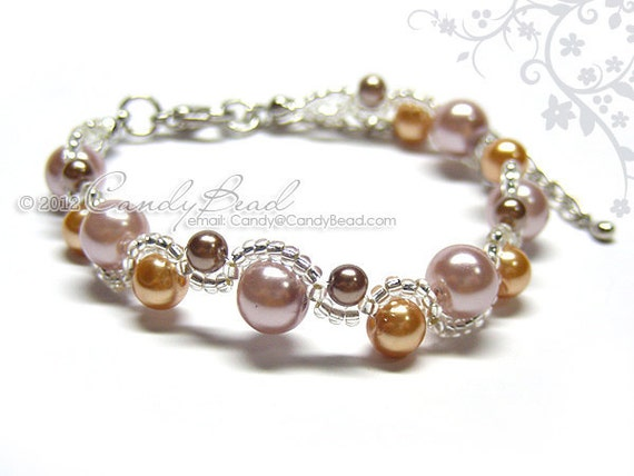 Glass pearl bracelet, Sweet Nature Glass Pearl Bracelet by CandyBead