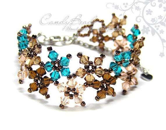 Crystal Bracelet, Sweet Brown and Teal Multiflora Swarovski Crystals Bracelet by CandyBead