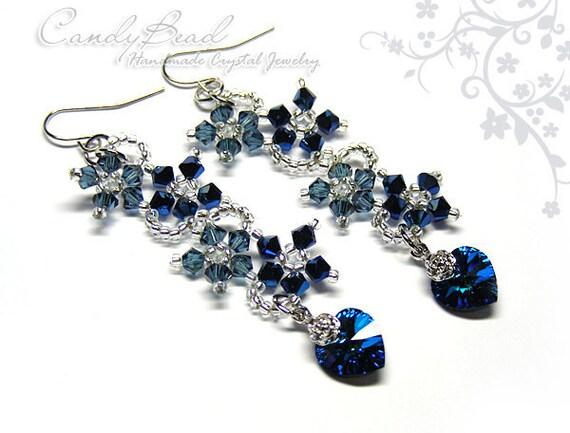 Swarovski Earrings, Navy Blue Flower Dancing Swarovski Crystal Earrings (E011-01)