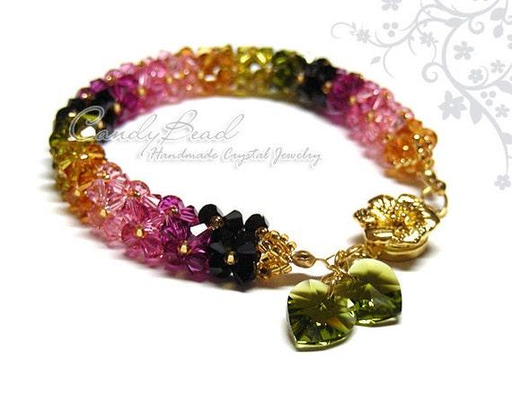 Swarovski bracelet, Luxurious Swarovski Crystal Tourmaline Bracelet with Floral Magnetic clasp by CandyBead