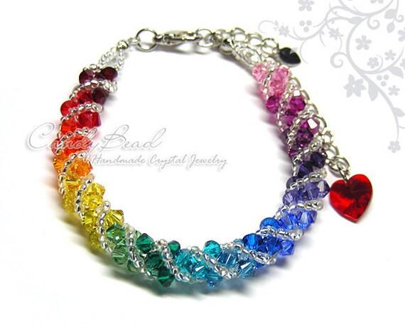 Swarovski bracelet, Spectrum rainbow twisty Swarovski Crystal Bracelet by CandyBead