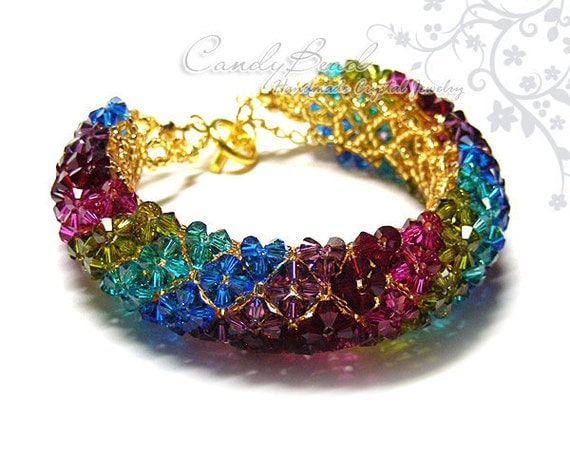 Swarovski bracelet, Elegant Multi-color Swarovski Crystal Bracelet with gold toggle clasp by CandyBead - Best seller