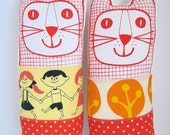 Screen printed linen and retro fabric cat called 'Brenda'