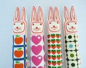 Screen printed vintage 70s fabric retro bunnies softie doll rabbit