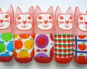 Retro Scandinavian Orla 70s apple pop art fabric cat toys