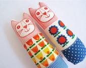 Child's scandi softie toy mini cat by Jane Foster 70s fabric