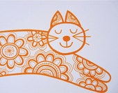 New retro Marmalade cat screen print by Jane Foster