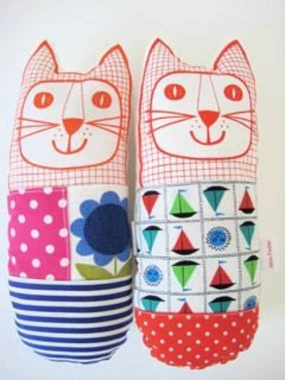 70s and 50s fabric toy cats by Jane Foster