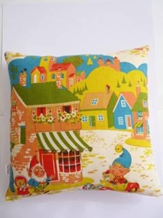 Vintage noddy nursery fabric cushion 60s 70s for Retro nursery fabric