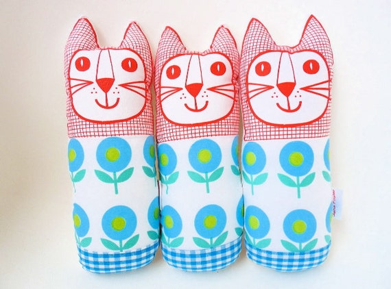 Retro Scandi style blue flower toy cat plush softie by Jane Foster