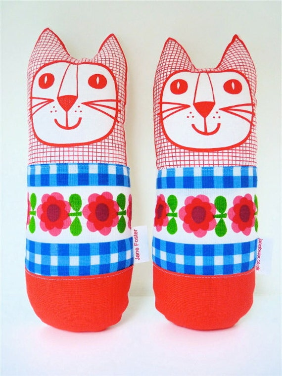 Original 70s fabric handmade cat toy plush softie by Jane Foster