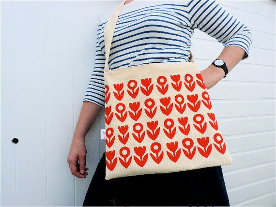Screen printed retro messenger bag by Jane Foster Scandi style