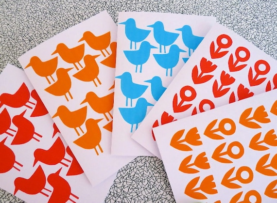 Special listing for Nicole - four red bird cards