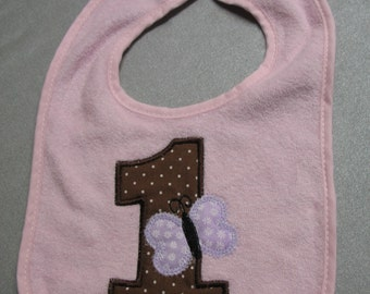 First Birthday Bib Applique Embroidered Baby Bib with butterfly brown purple pink READY TO SHIP