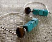 Sterling Silver Swing Hoop Earrings (Blue Turquoise and Brown Tiger Eye)