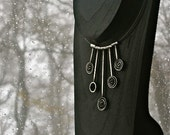 Milky Way- Hand fabricated and Oxidized Sterling Silver Necklace with Five Dangling Spirals
