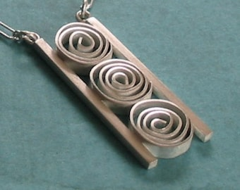 Stop Light- Hand fabricated Sterling Silver Pendant with Three Spirals Framed